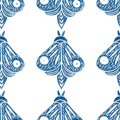 Butterflies. Seamless pattern. Linocut handmade vector illustration. Blue-gray color. Isolated on white