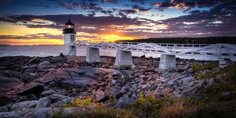 Das Marshall Point Light bei Sonnenuntergang