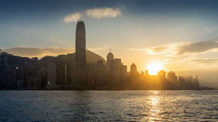 Fotomurales - Beautiful sunset at Hong Kong.