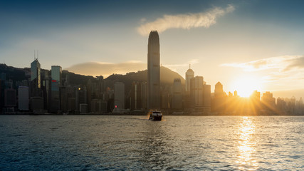 Fototapete - Beautiful sunset at Hong Kong.