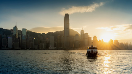 Wall Mural - Beautiful sunset at Hong Kong.