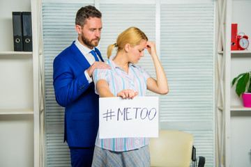 Girl hold poster hashtag me too while colleague calm down her. Share assault story. Looking for support. Discrimination assault complaint. Victim assault at workplace. Assault targeted at employee