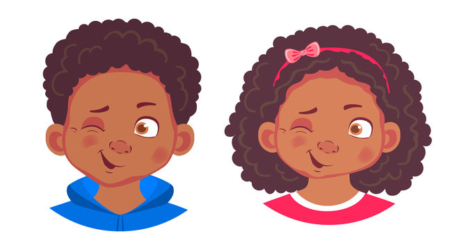 portrait of african boy and girl