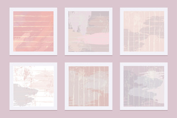 Abstract artistic template cards with pastel colored brush strokes and stripes , contemporary art collection