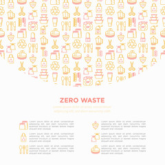 Zero waste concept with thin line icons: menstrual cup, safety razor, glass jar, natural deodorant, hand coffee grinder, french press, metal scissors. Vector illustration, print media template.