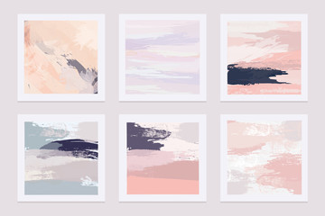 Collection of abstract artistic vector textures in soft pastel colors imitating paint brush strokes