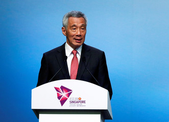 Singapore's Prime Minister Lee Hsien Loong speaks during the opening ceremony of the 33rd ASEAN Summit in Singapore