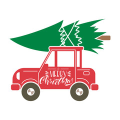 Red car with Christmas tree on the roof and hand drawn lettering. Vector cartoon flat illustration. Greeting card design.