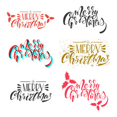 Merry Christmas vector text. Handwritten lettering set isolated on a white background.