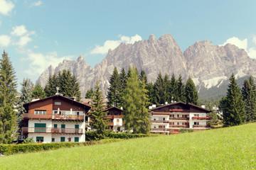 Deurstickers Landschappen Beluno, Italy-August 9, 2018: The mountain village of Cortina di Ampezzo.