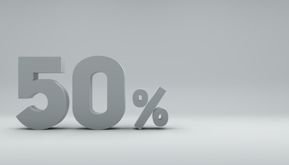 3d rendering, 3d text 50% in a bright white room. minimal motion graphics design style.