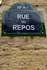 Rue du Repos; Plaque de nom de rue