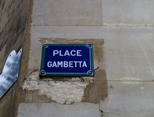 Place Gambetta; Plaque de nom de rue Paris