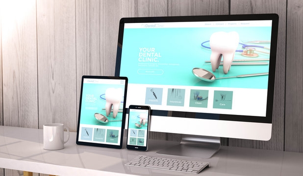 devices responsive on workspace dental clinic website design