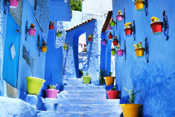 Garden Poster Morocco Traditional moroccan architectural details in Chefchaouen, Morocco, Africa