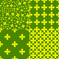 Vasant Panchami. Concept Indian religious festival. 4 seamless patterns with mustard flowers.