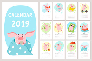 Cute calendar with cartoon pig, New Year 2019.