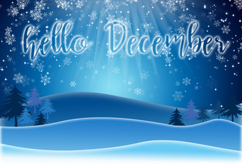 Holiday Greeting Card with lettering HELLO DECEMBER
