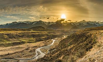 Fototapeta Cave Stream Scenic Reserve during sunset, South Island, New Zealand