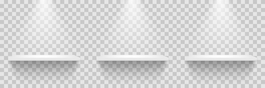 Empty white shelves row isolated on transparent background. Vector design element.