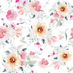 Vector seamless pattern with flower and plants in watercolor style.
