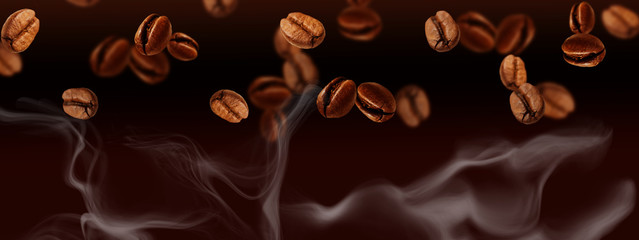 Foto op Canvas koffiebar Flying coffee beans Banner, horizontal