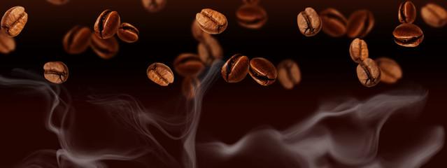 Flying coffee beans Banner, horizontal