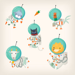 Set of farm animals wearing spacesuits floating in outer space.