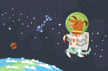 First dog astronaut in spacesuit floating in outer space chasing a sugar bone made of stars.