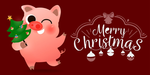Funny smiling pig with decorated Xmas tree poster card lettering text logo design