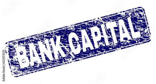 BANK CAPITAL Stamp Seal Print With Grunge Style Shape Is A Rounded Rectangle