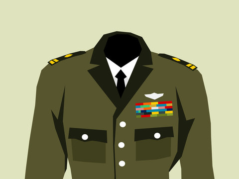 Military uniform with high officer rank insignia - elegant khaki clothes and hierarchy in the army. Vector illustration