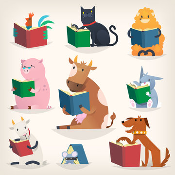 Animals reading books with stories and translating other languages. Trying to understand others.