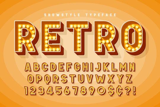 Retro cinema font design, cabaret, Broadway letters