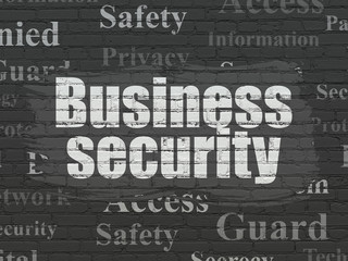 Security concept: Painted white text Business Security on Black Brick wall background with  Tag Cloud
