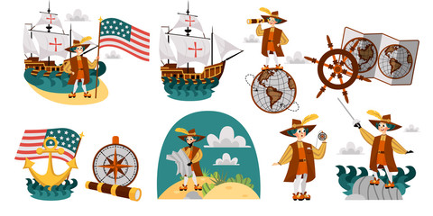 Columbus Day set with ship map helm compass symbols