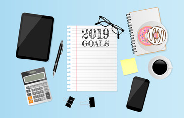 2019 Goals on note paper with office supplies on blue background. Vector illustration