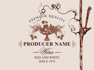 Vector label for red and white wine with a bowl of fruit, berries, lilac and grapevine on beige background in retro style