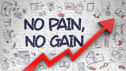 No Pain, No Gain - Drawn on White Brickwall. 3d