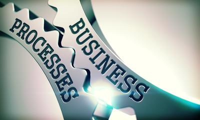 Business Processes - Mechanism of Shiny Metal Cogwheels. 3D.