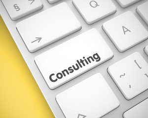 Consulting - Message on White Keyboard Button. 3D.