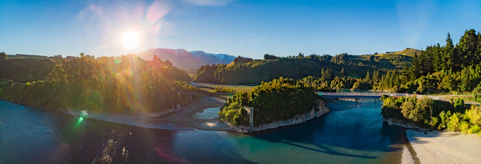 Bridges over Rakaia river, Rakaia Gorge, New Zealand, South Island