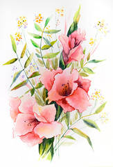 Original watercolor - a bouquet of pink gladiolus with different branches of leaves