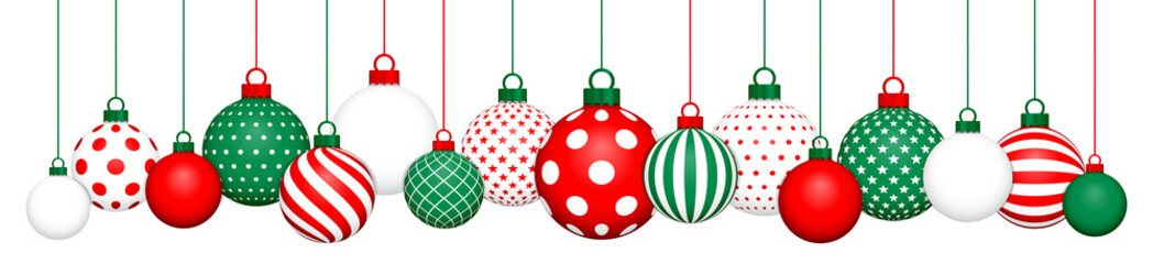Banner Hanging Christmas Balls Pattern Red-Green/White/Red-Green