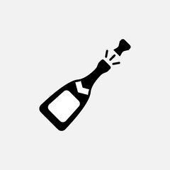 Champagne bottle icon. Champagne bottle symbol. Flat design. Stock - Vector illustration.
