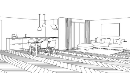 Modern house interior. Design project. Sketch. 3D rendering.