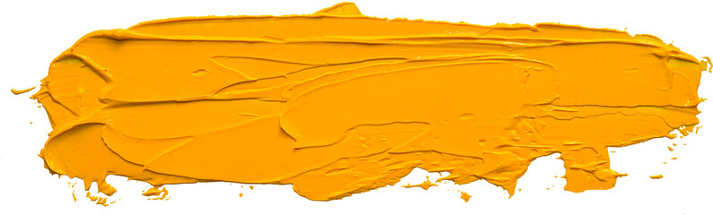 Textured yellow oil paint long brush stroke, convex with shadows, isolated on transparent background. EPS 10 vector illustration.