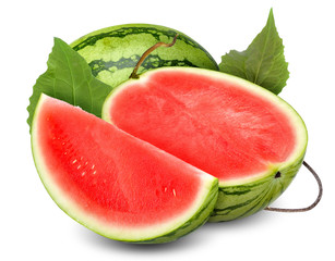 watermelon isolated on white with clippint path