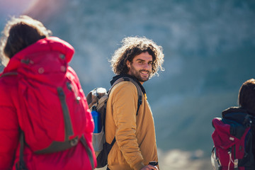 Portrait of male hiker in the mountain