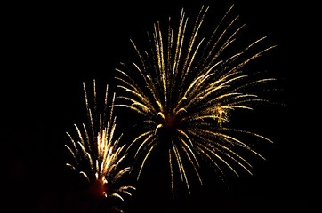 holiday two flashes of colorful fireworks in the black night sky